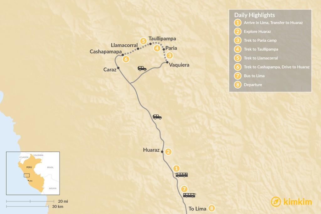 Map of Santa Cruz Trek