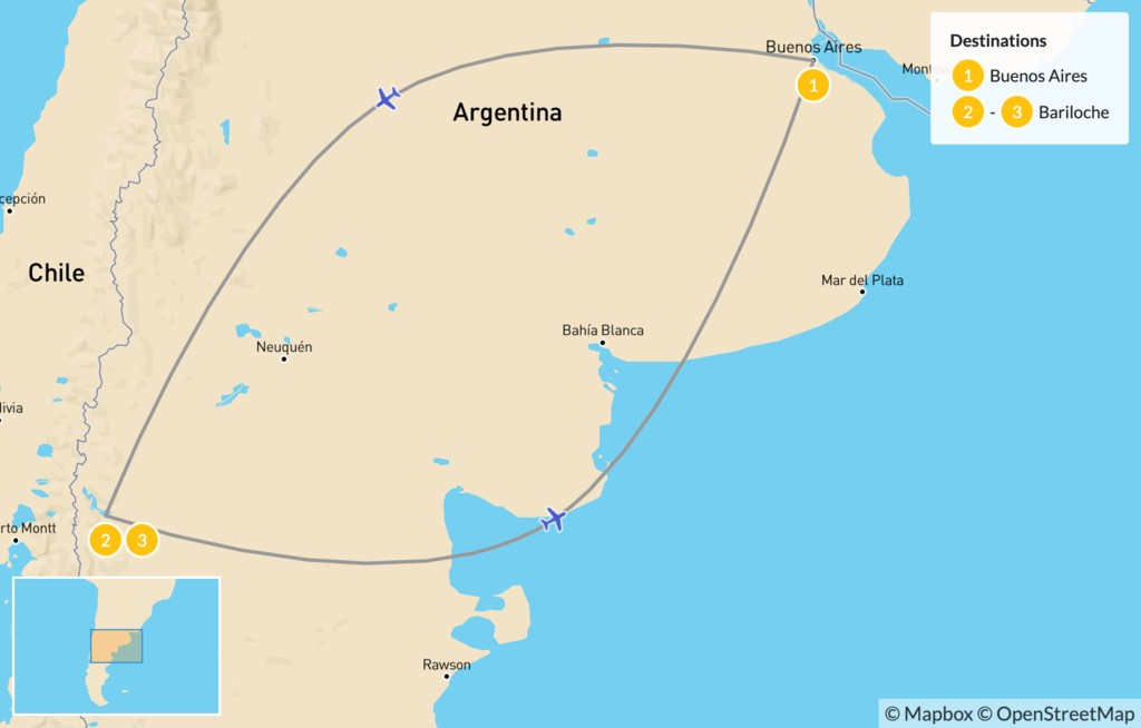 Map of Family Adventure in Patagonia: Buenos Aires & Bariloche - 4 Days