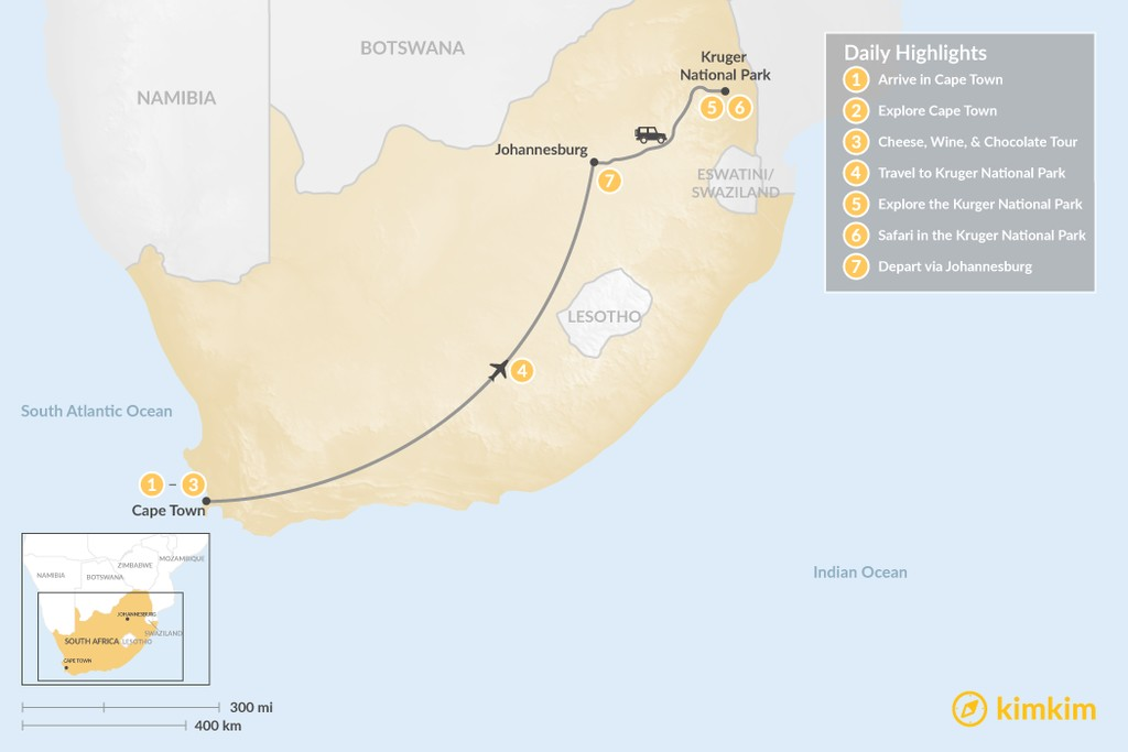 Map of Explore South Africa: Cape Town & Kruger Safari - 7 Days
