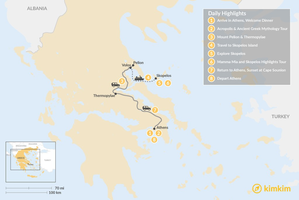 Map of Central Greece & Skopelos Exploration - 8 Days