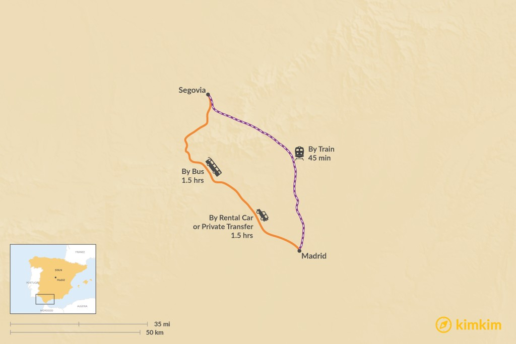 Map of How to Get from Madrid to Segovia