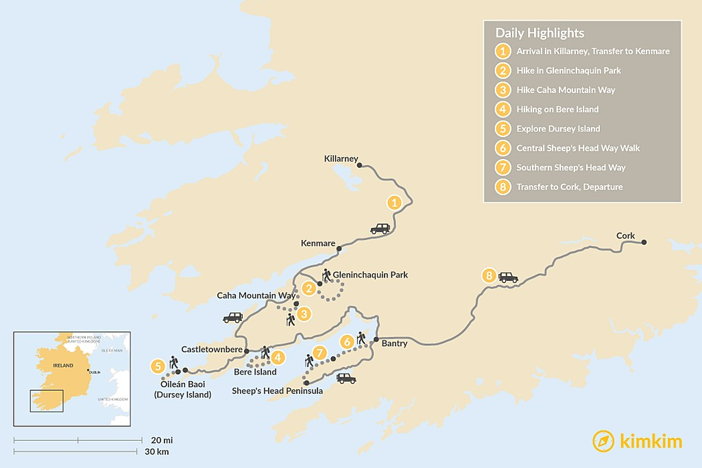 Map of Guided Kerry & Cork Walk - 8 Days