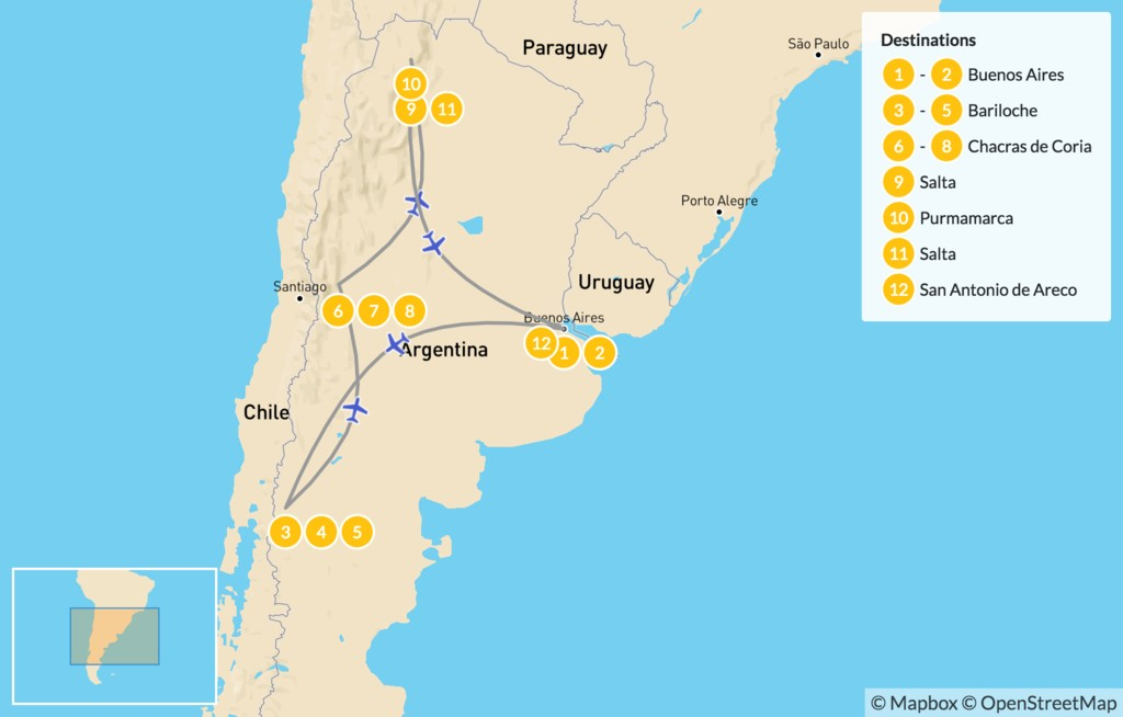Map of Classic Argentina: Bariloche, Mendoza, & Salta - 13 Days