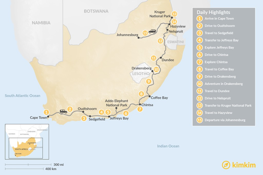 Map of Country of Contrasts Road Trip: Cape Town, Garden Route, Wild Coast, Kruger National Park, & More - 15 Days