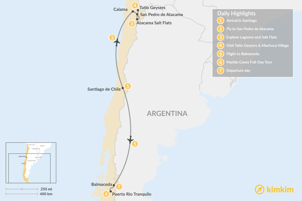 Map of Atacama Desert & Marble Caves Adventure - 7 Days