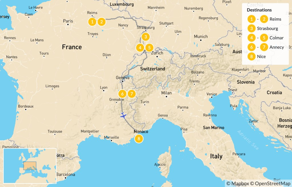 Map of Highlights of Eastern France: Reims, Strasbourg, Colmar, Annecy, & More - 9 Days