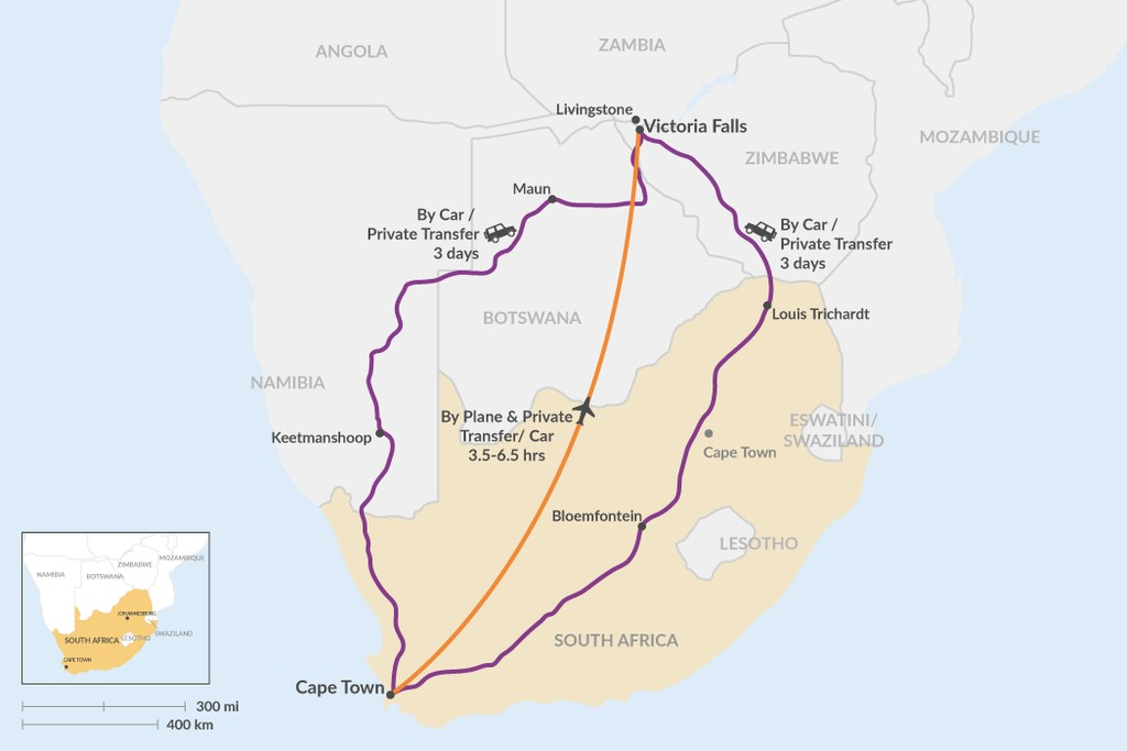 Map of How to Get from Cape Town to Victoria Falls