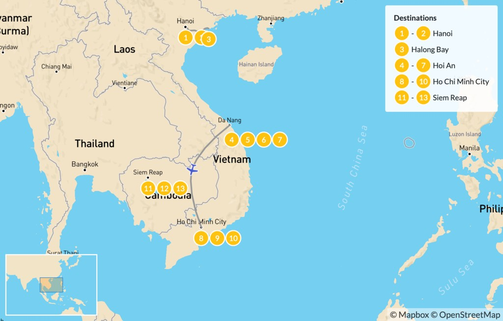 Map of  Discover Vietnam & Cambodia - 14 Days
