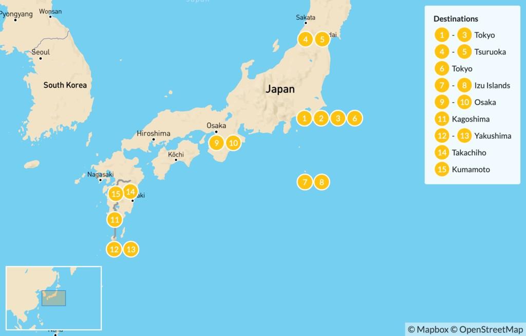 Map of Uncharted Japan: Tokyo, Tsuruoka, Izu Islands, Osaka, Kagoshima, Yakushima, Takachiho, Kumamoto - 16 Days