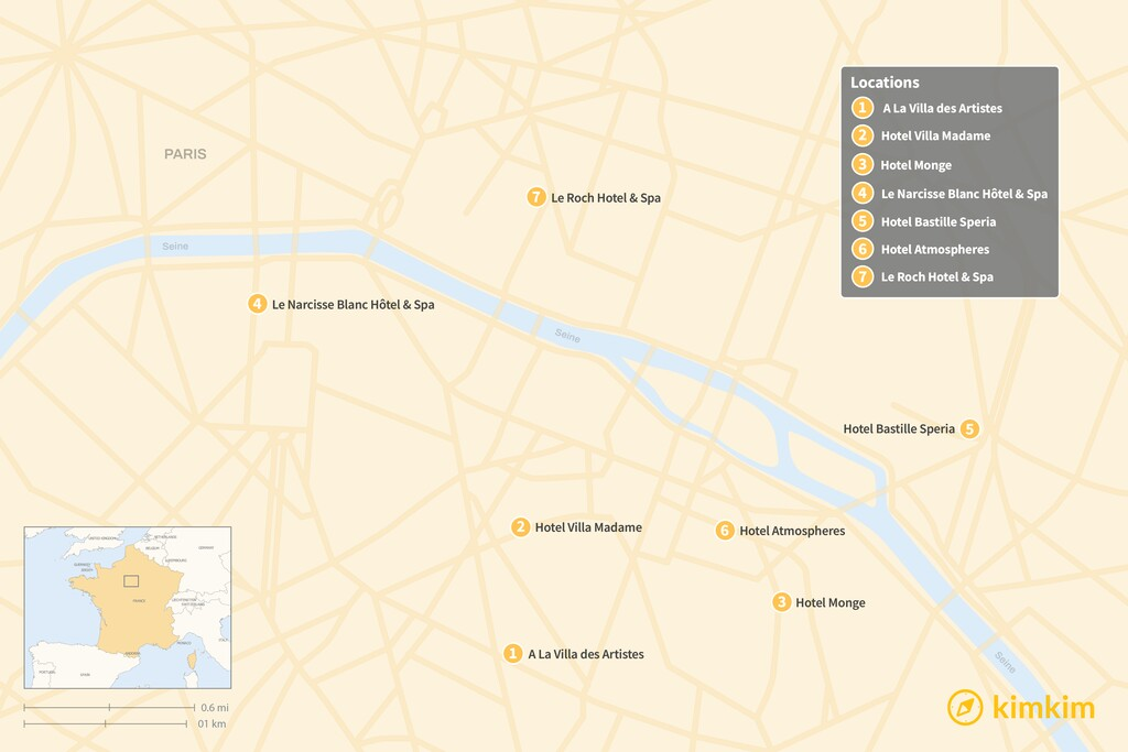 Map of The Best Boutique Hotels in Paris