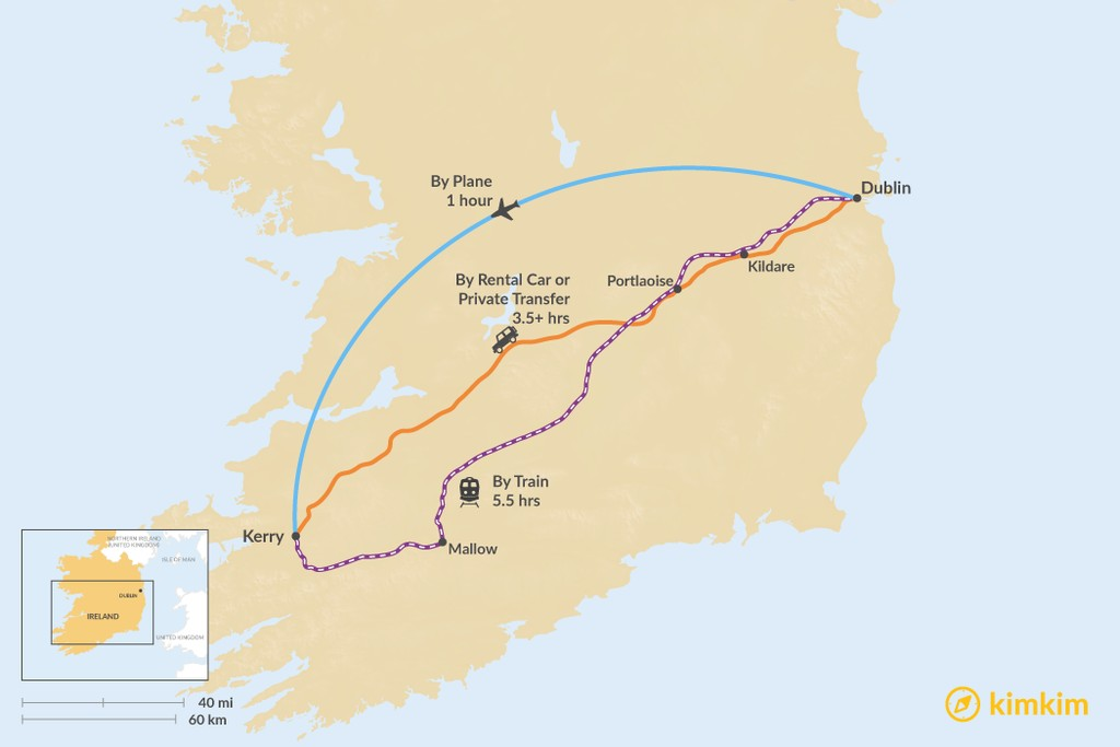 Map of How to Get from Dublin to County Kerry