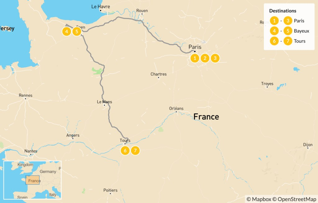 Map of Road Trip through Western France: Paris, Normandy, & the Loire Valley - 8 Days