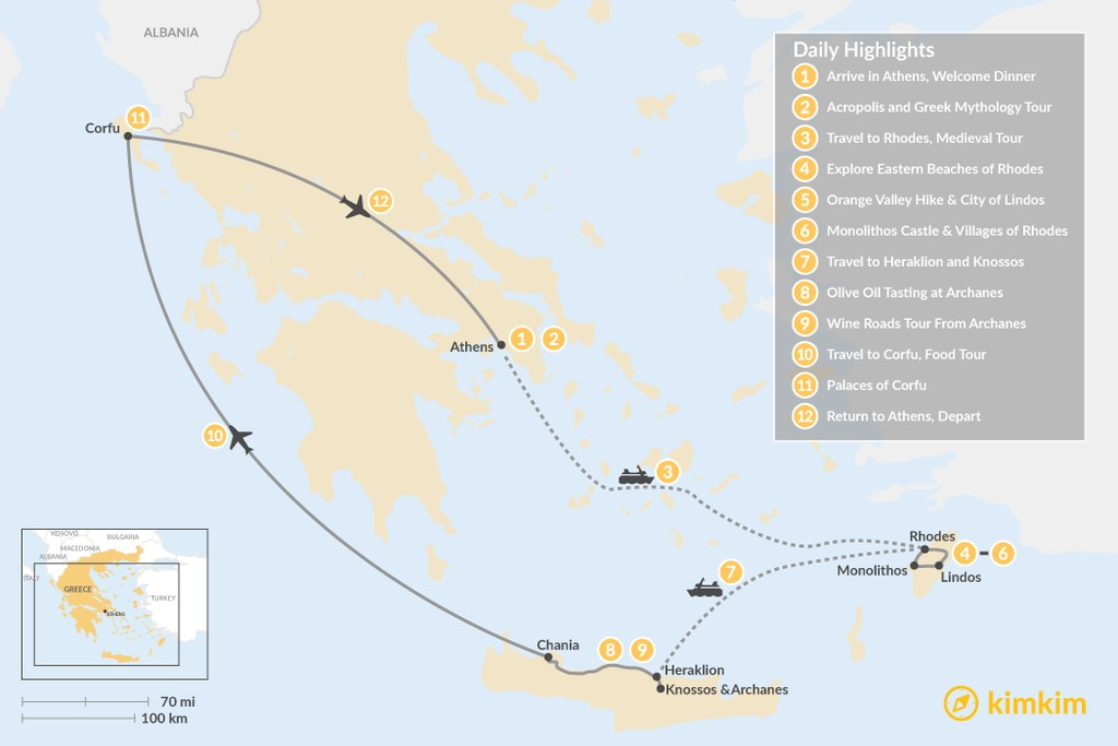 Map of Discover Rhodes, Crete, and Corfu - 12 Days