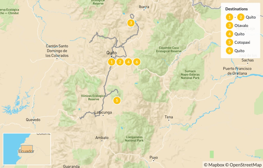 Map of Ecuadorian Adventure in Quito: Otavalo, Cotopaxi, & Cloud Forest - 7 Days