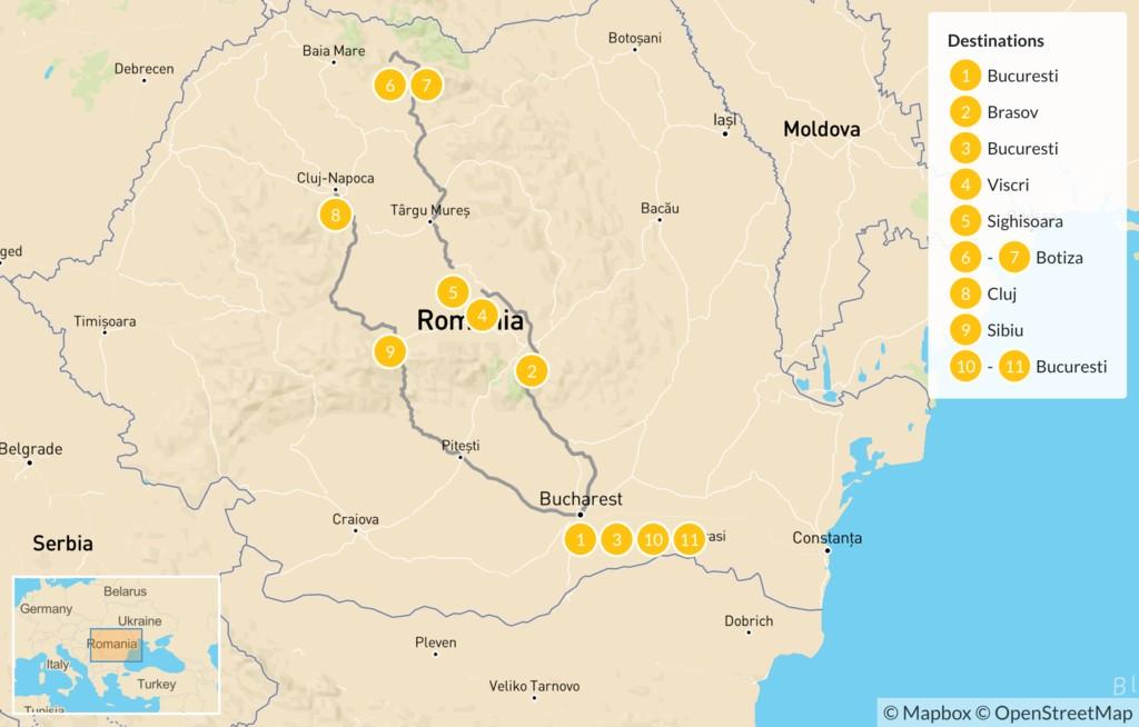 Map of  Discovering Transylvania & Maramures - 11 Days