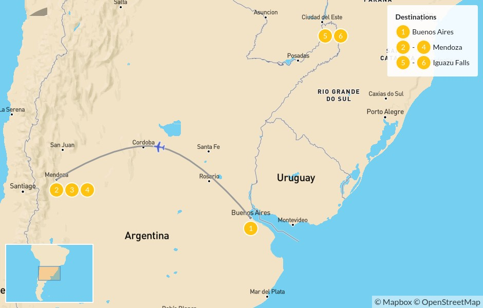 Map of Highlights of Argentina: Buenos Aires, Mendoza, & Iguazu Falls - 7 Days