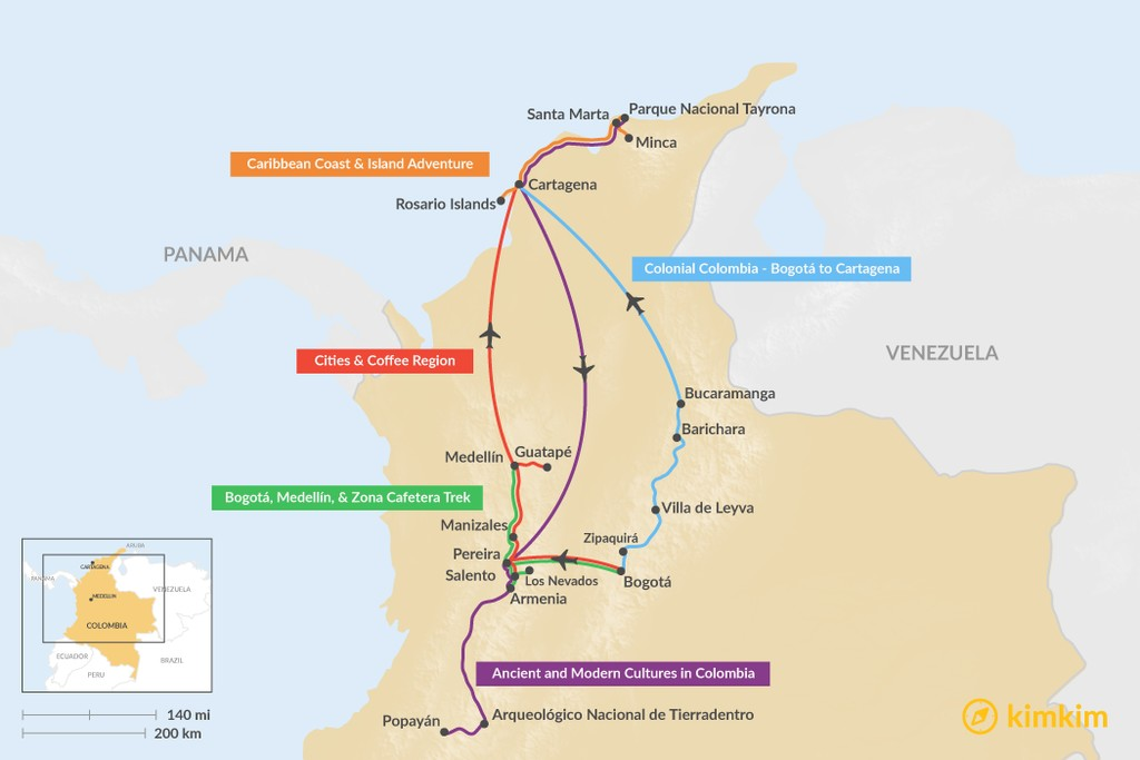 Map of 11 Days in Colombia - 5 Unique Itinerary Ideas