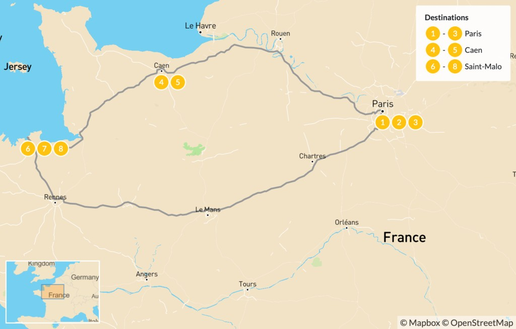 Map of Family Road Trip in Western France: Paris, Normandy, & Brittany - 9 Days