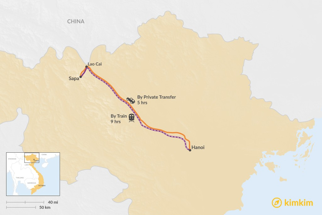 Map of How to Get from Hanoi to Sapa