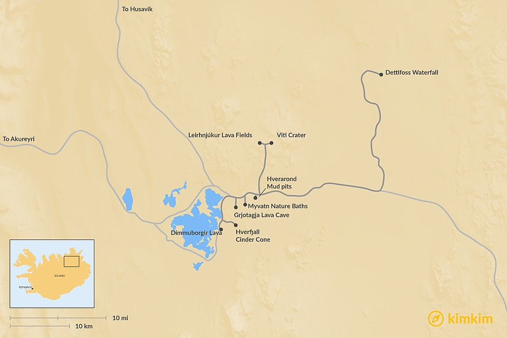 Map of Best Sights Around Lake Myvatn: Hikes, Volcanoes, Geothermal Areas