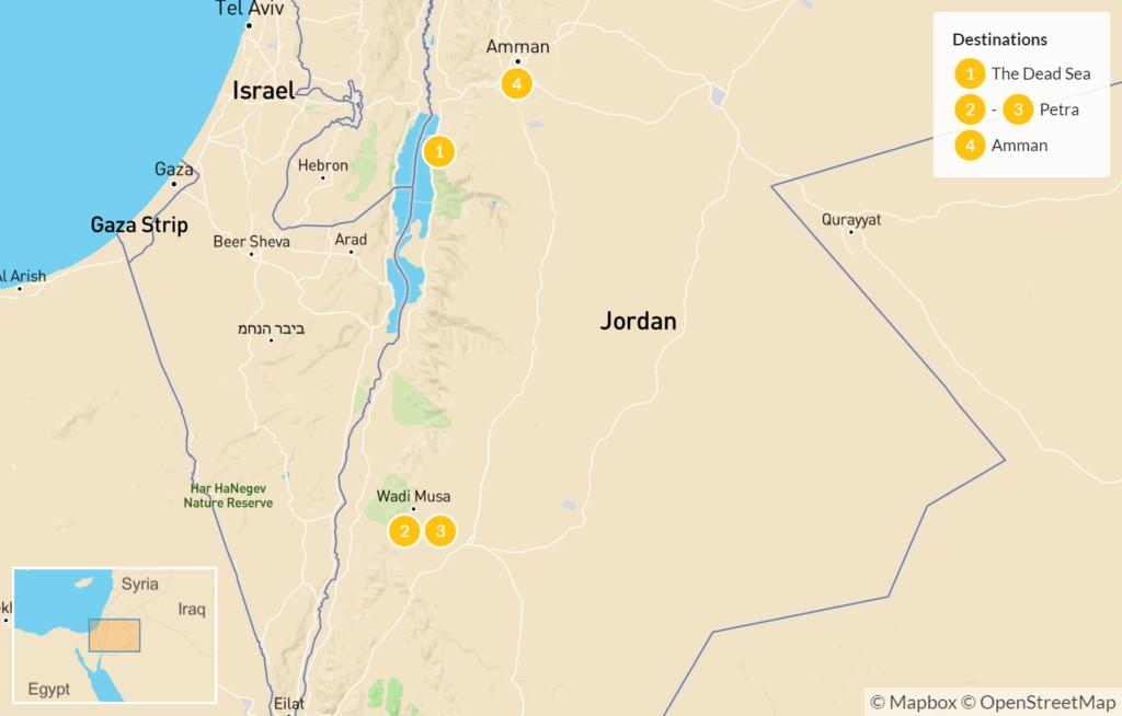 Map of Highlights of Jordan: The Dead Sea, Petra, Wadi Rum, Amman,  & Jerash - 5 Days