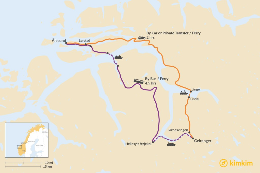 Map of How to Get from Ålesund to Geiranger