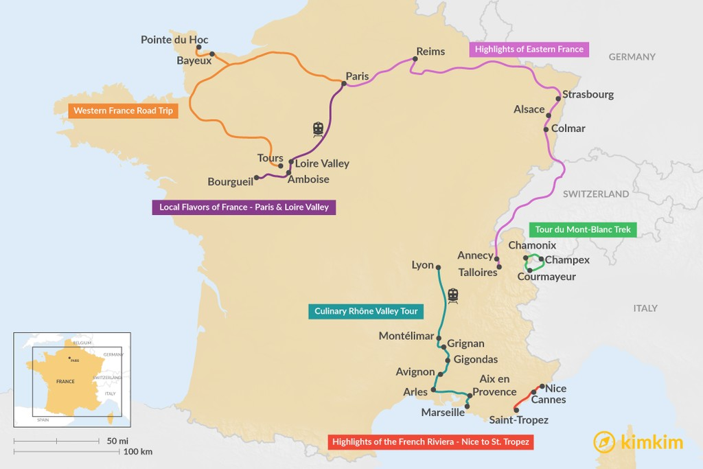 Map of 8 Days in France - 6 Unique Itinerary Ideas