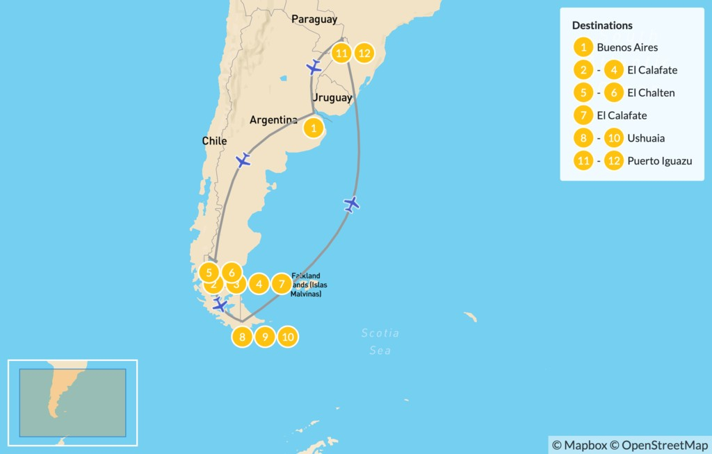 Map of Active Adventure in Argentina: Bueno Aires, El Calafate, El Chalten, Ushuaia, & Puerto Iguazu - 13 Days