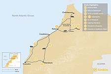 Map thumbnail of Morocco Grand Tour from Rabat: Imperial Cities & Coastal Towns - 9 Days