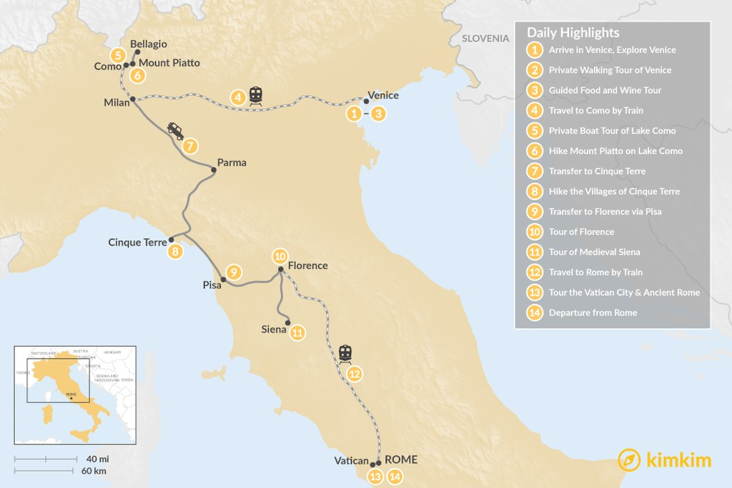 Map of History and Nature in Italy: Venice to Rome - 14 Days