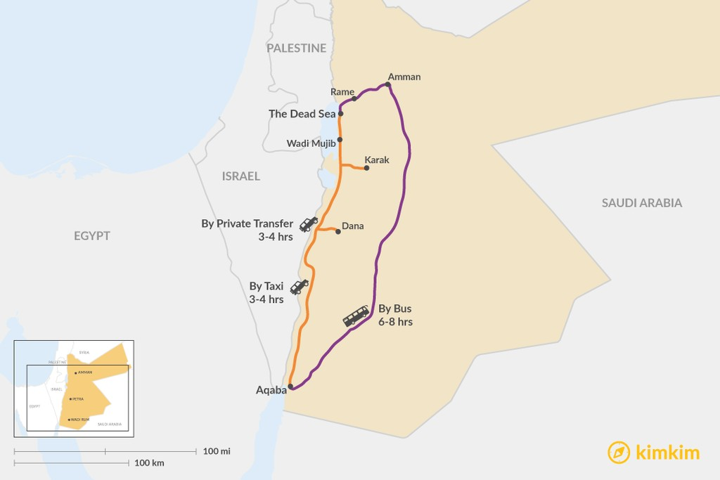 Map of How to Get from Aqaba to The Dead Sea