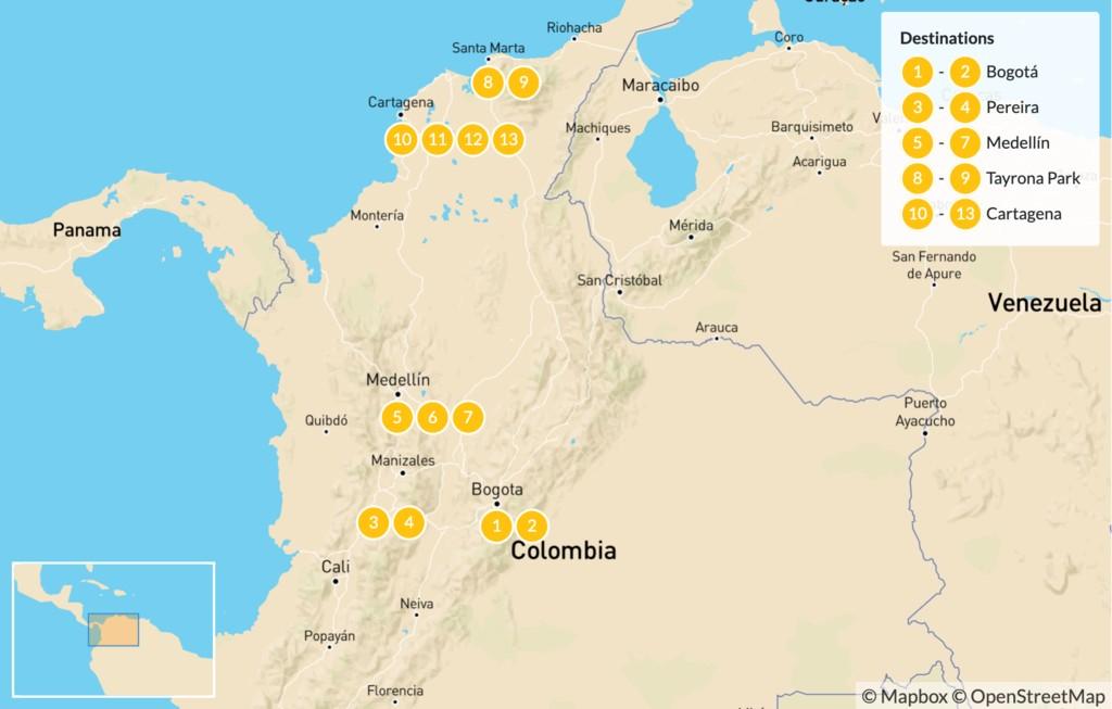 Map of Colombia Highlights: Bogotá, Coffee Region, Medellín & Cartagena - 14 Days