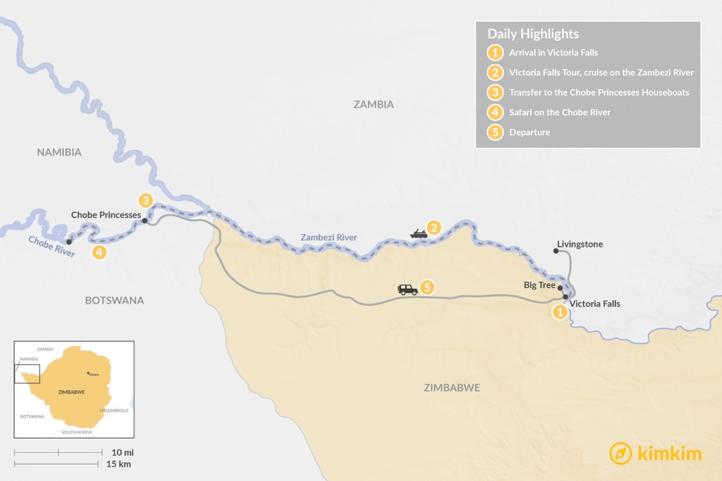 Map of Victoria Falls & Chobe River Houseboat - 5 Days