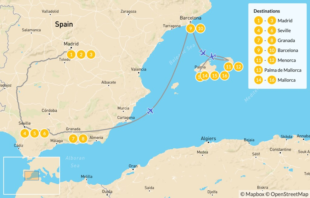 Map of Spain Highlights: Madrid, Andalusia, Barcelona, & the Balearic Islands - 17 Days
