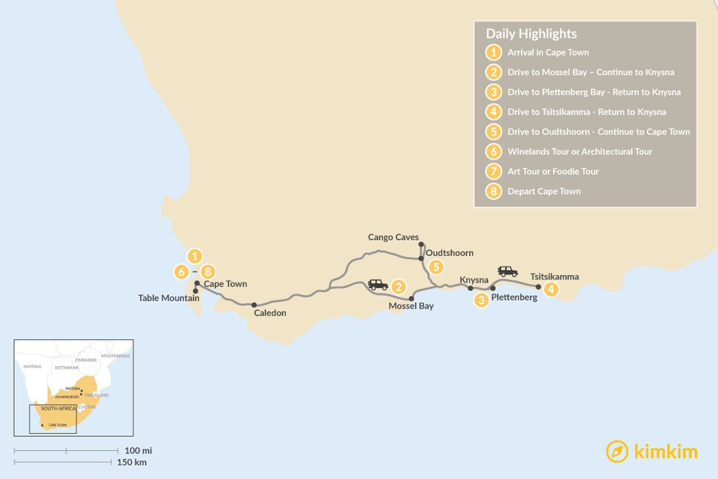 Map of Cape Town & Garden Route - 8 Days