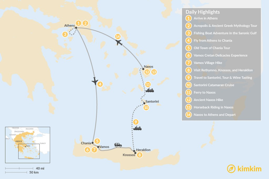 Map of Authentic Greece: Athens, Crete, and the Cyclades - 14 Days