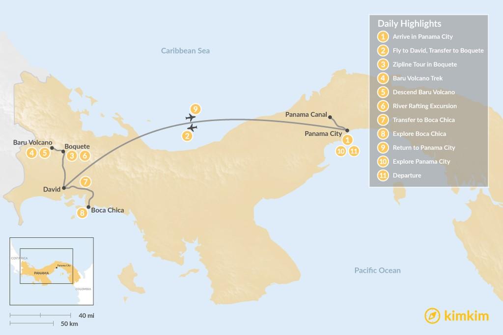 Map of Panama Multi-Sport Adventure - 11 Days