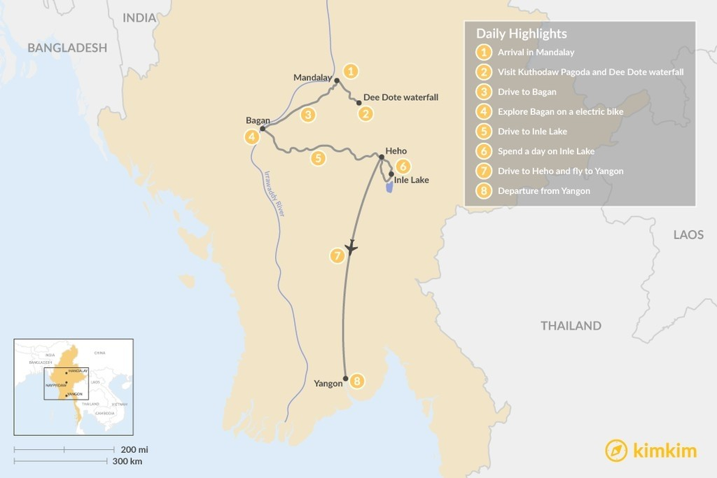 Map of Essential Myanmar - 8 Days