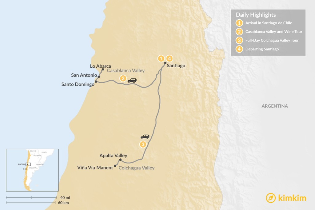 Map of Wine tour in Santiago de Chile - 4 Days