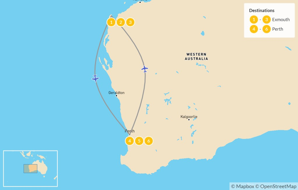 Map of West Coral Coast: From Exmouth to Perth - 7 Days