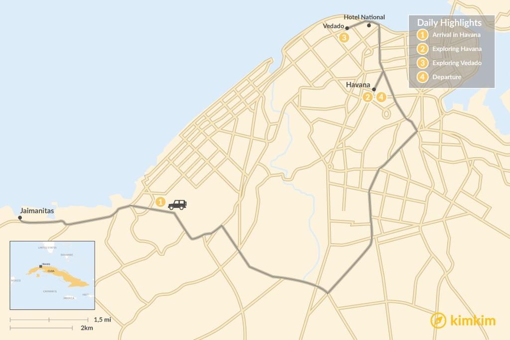 Map of Havana in a Heartbeat: 4 Days