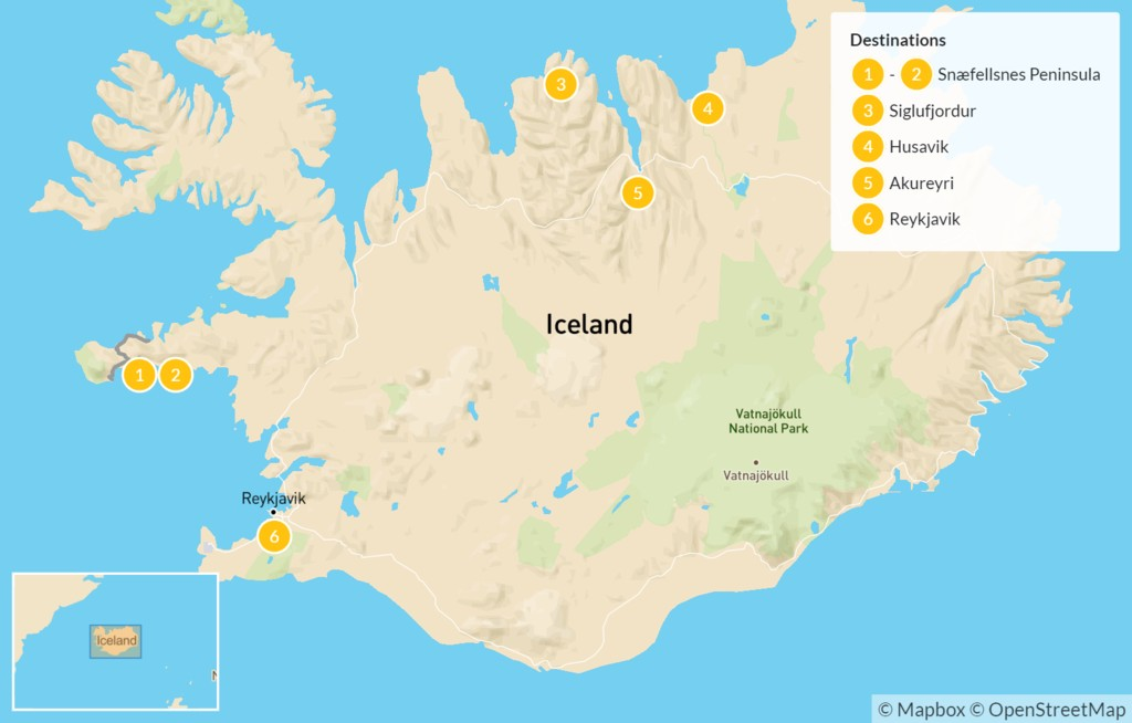 Map of Best of Iceland's West & North - 7 Days