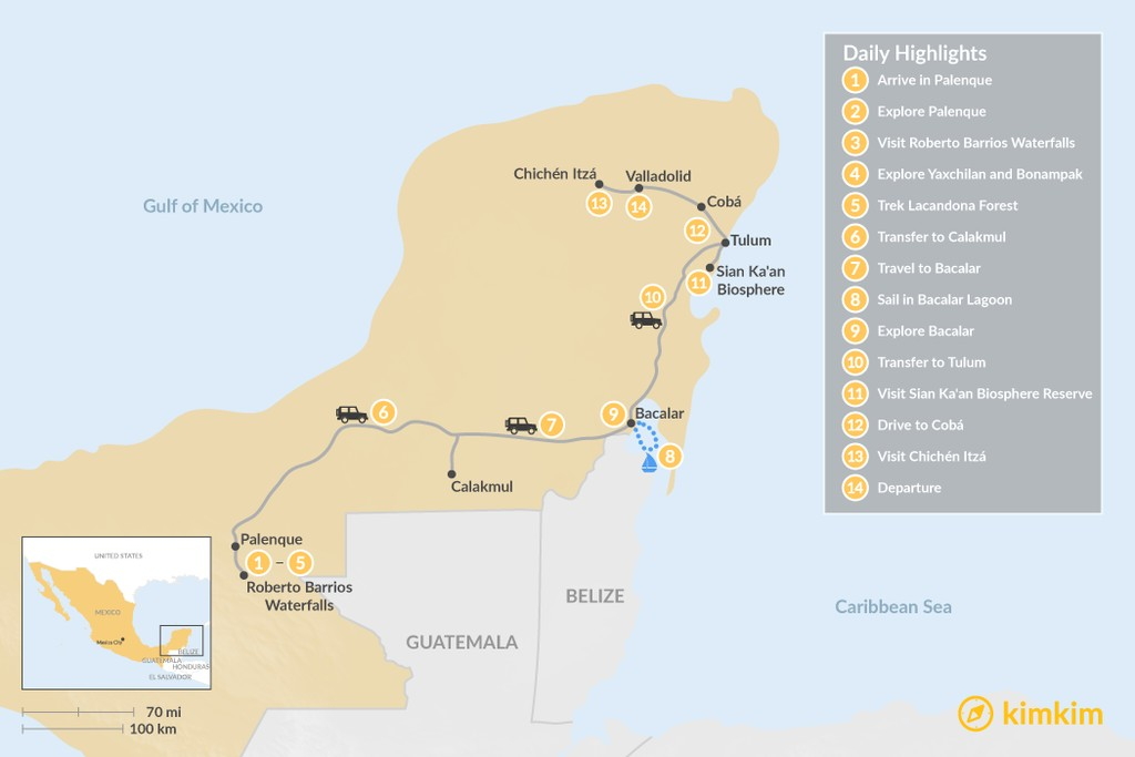 Map of Highlights of Chiapas and Quintana Roo - 14 Days