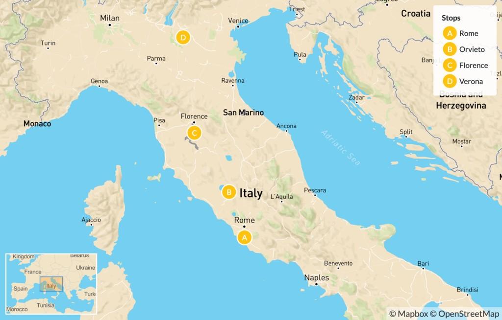 Map of Rome, Orvieto, Florence, & Verona - 15 Days