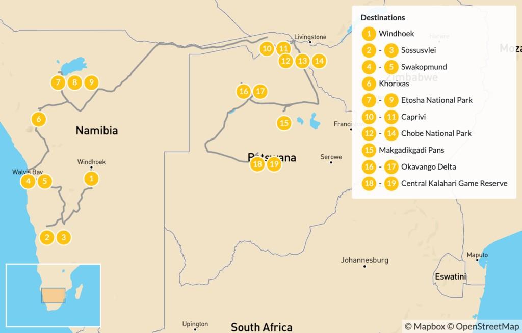 Map of Namibia & Botswana Safari Road Trip - 20 Days