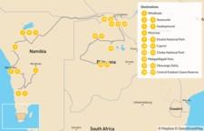 Map thumbnail of Namibia & Botswana Safari Road Trip - 20 Days