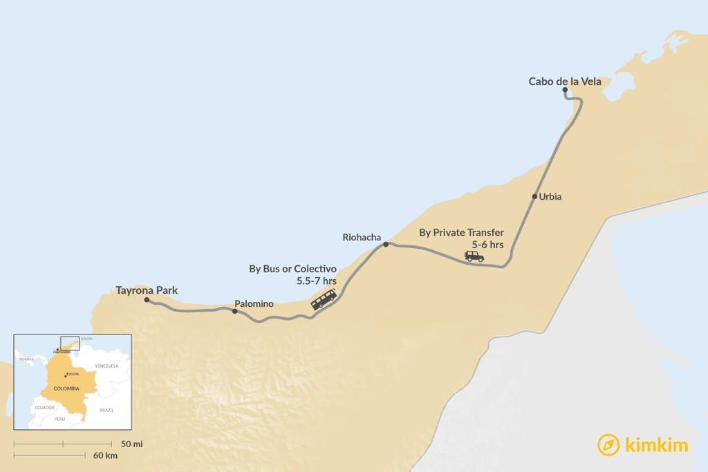 Map of How to Get from Tayrona National Park to La Guajira Desert