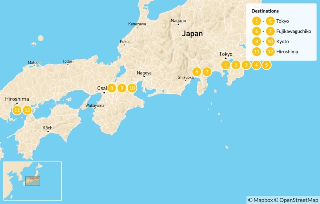 Map of Magic of Japan: Tokyo, Kyoto, Hiroshima - 12 days
