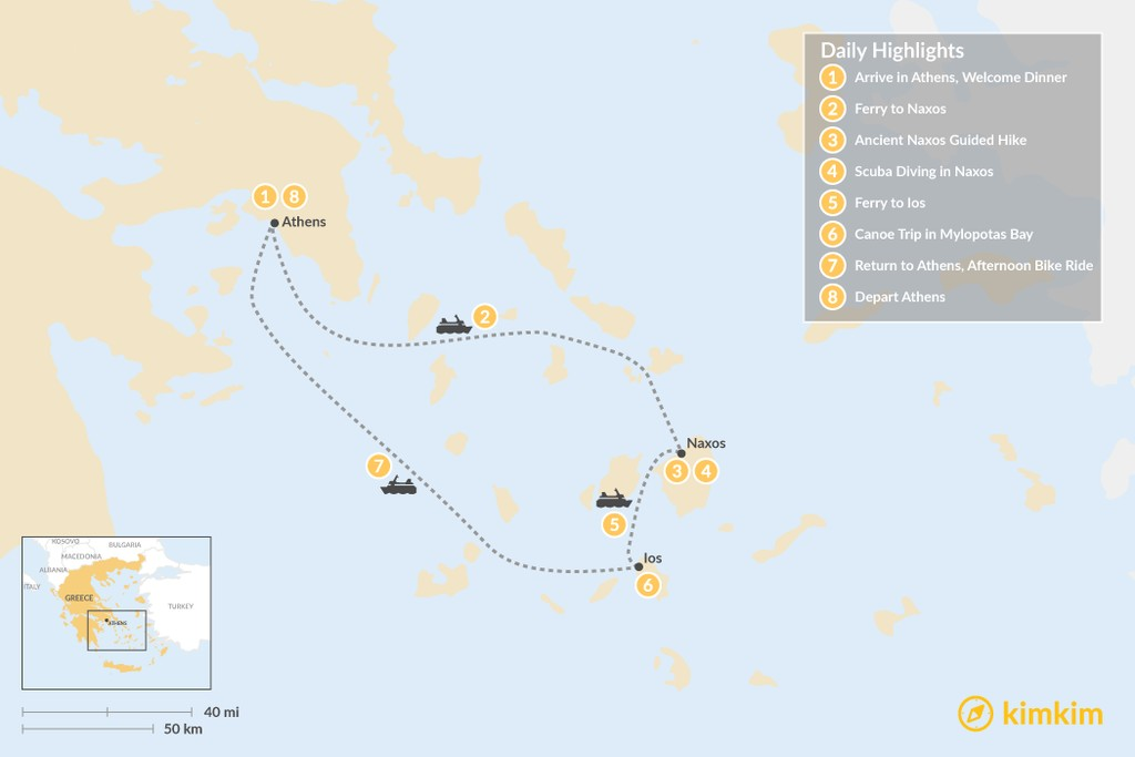 Map of Active Cyclades: Naxos & Ios - 8 Days