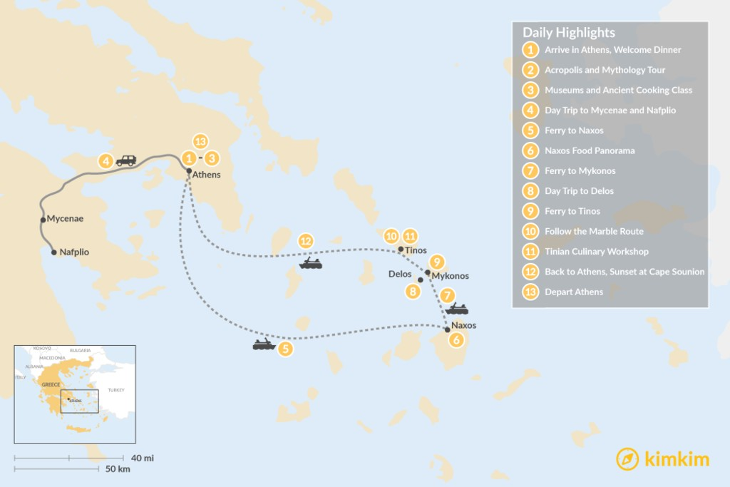 Map of Past and Present in Athens, Tinos, Mykonos & Naxos - 13 Days